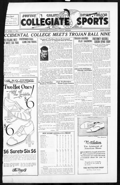 Daily Trojan, Vol. 16, No. 87, April 20, 1925