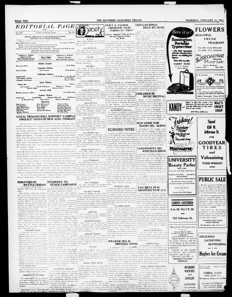 The Southern California Trojan, Vol. 14, No. 55, February 15, 1923