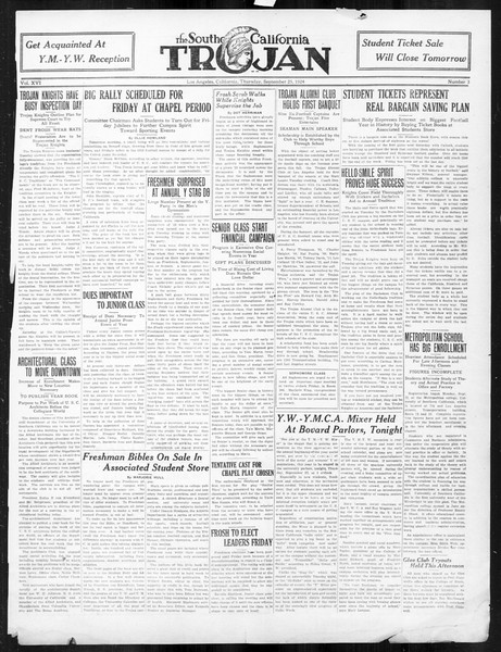 The Southern California Trojan, Vol. 16, No. 3, September 25, 1924