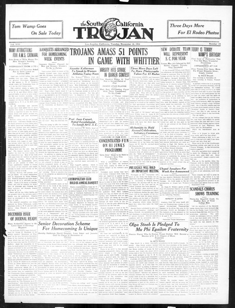 The Southern California Trojan, Vol. 16, No. 24, November 18, 1924