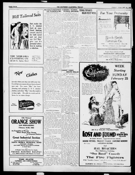 The Southern California Trojan, Vol. 14, No. 59, February 23, 1923