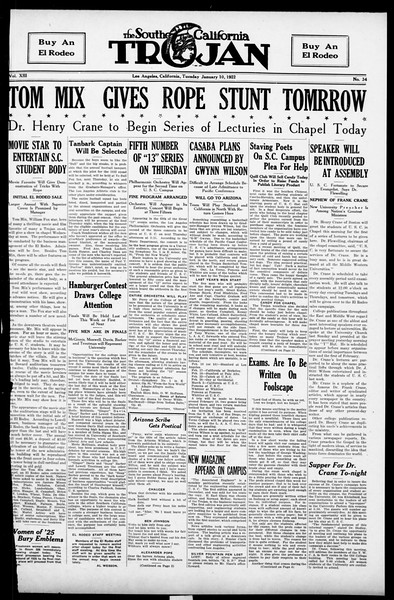 The Southern California Trojan, Vol. 13, No. 34, January 10, 1922