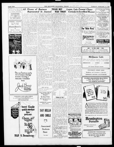 The Southern California Trojan, Vol. 15, No. 52, February 18, 1924