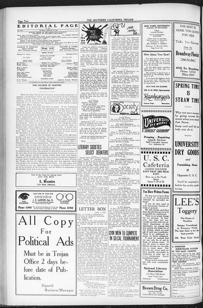 The Southern California Trojan, Vol. 12, No. 76, April 29, 1921