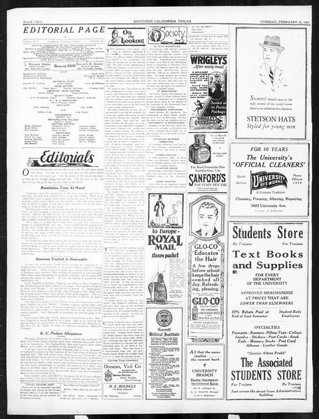 The Southern California Trojan, Vol. 16, No. 47, February 10, 1925