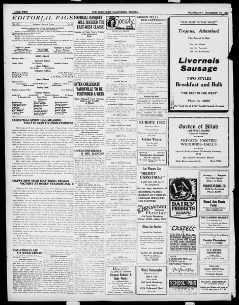 The Southern California Trojan, Vol. 14, No. 40, December 20, 1922