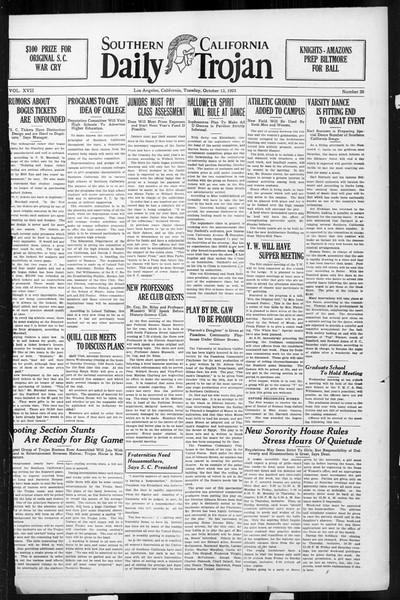 Daily Trojan, Vol. 17, No. 20, October 13, 1925
