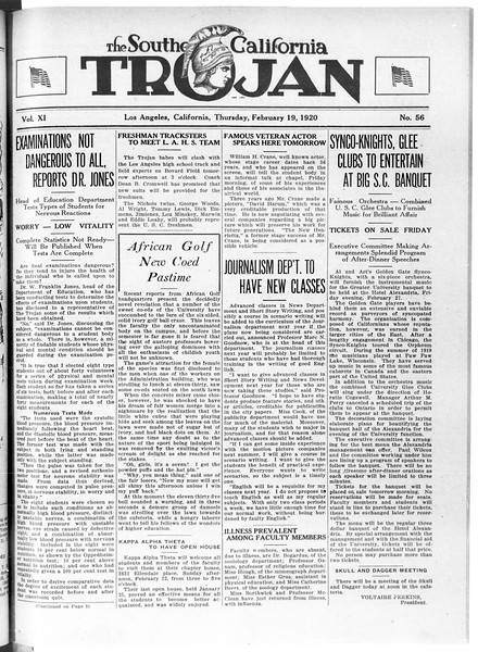 The Southern California Trojan, Vol. 11, No. 56, February 19, 1920