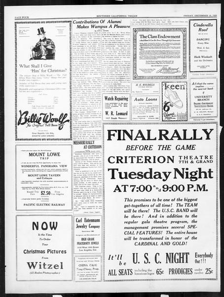 The Southern California Trojan, Vol. 16, No. 35, December 19, 1924
