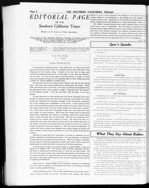 The Southern California Trojan, Vol. 8, No. 70, February 20, 1917