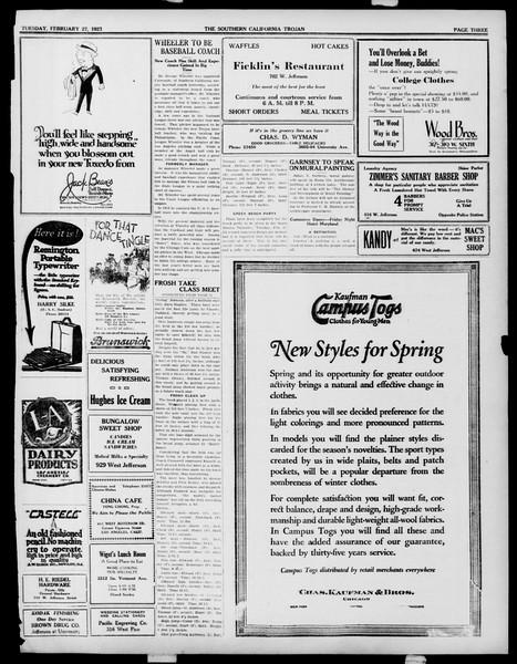 The Southern California Trojan, Vol. 14, No. 60, February 27, 1923