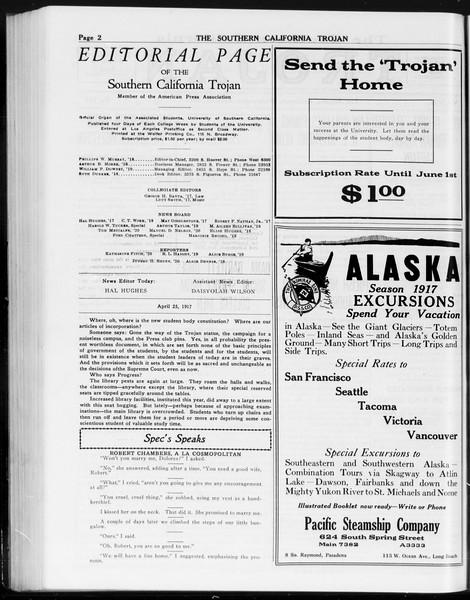The Southern California Trojan, Vol. 8, No. 101, April 25, 1917