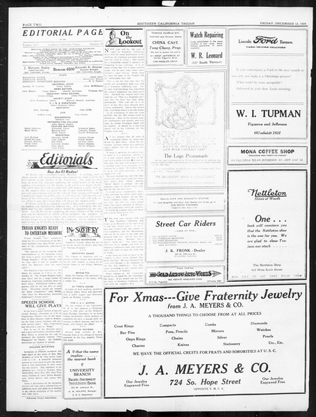 The Southern California Trojan, Vol. 16, No. 32, December 12, 1924