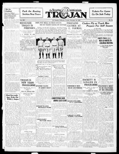 The Southern California Trojan, Vol. 14, No. 39, December 19, 1922