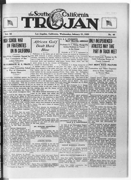 The Southern California Trojan, Vol. 11, No. 46, January 21, 1920