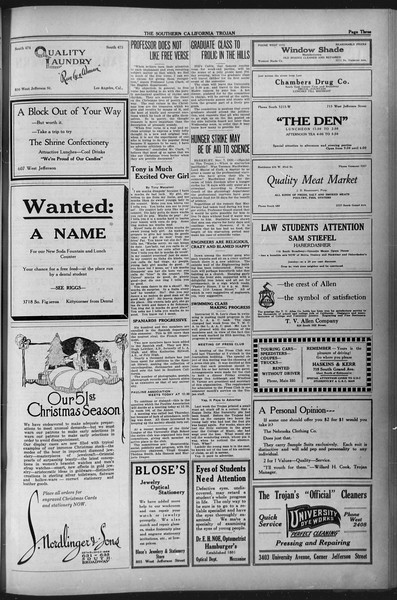 The Southern California Trojan, Vol. 12, No. 25, November 09, 1920