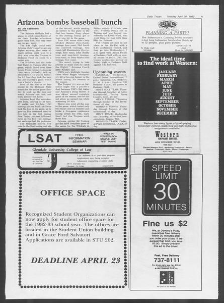 Daily Trojan, Vol. 91, No. 62, April 20, 1982