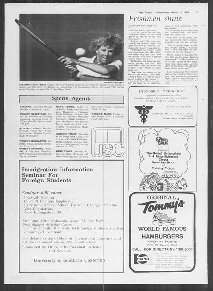 Daily Trojan, Vol. 93, No. 44, March 16, 1983