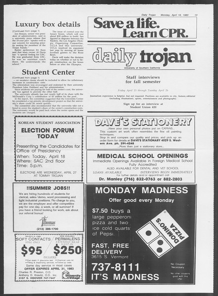 Daily Trojan, Vol. 93, No. 60, April 18, 1983