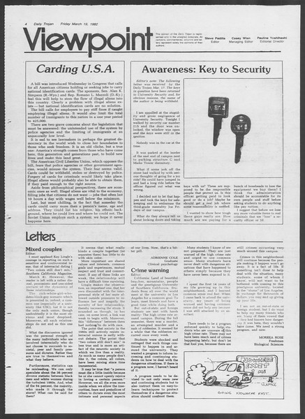 Daily Trojan, Vol. 91, No. 46, March 19, 1982