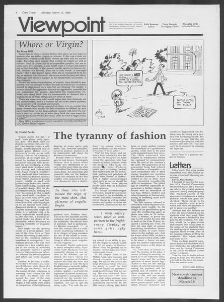 Daily Trojan, Vol. 95, No. 43, March 12, 1984