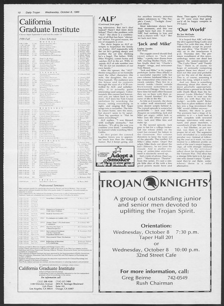 Daily Trojan, Vol. 102, No. 27, October 08, 1986