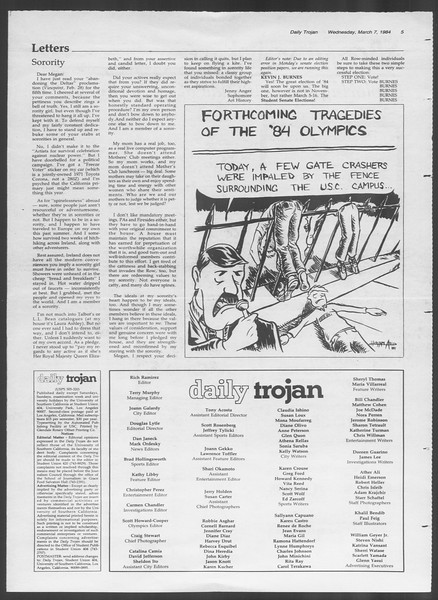 Daily Trojan, Vol. 95, No. 40, March 07, 1984