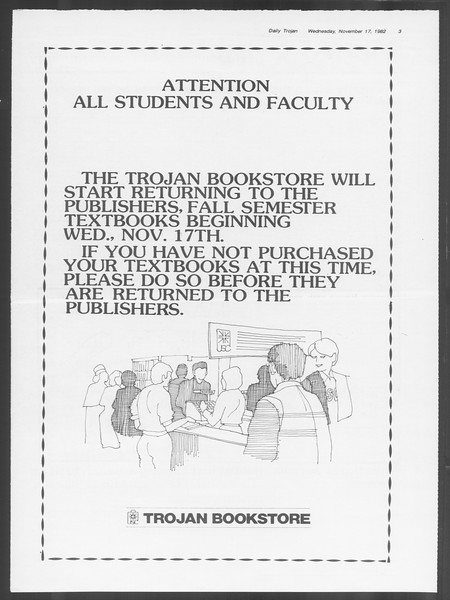 Daily Trojan, Vol. 92, No. 51, November 17, 1982