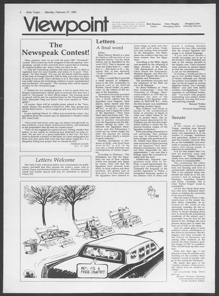 Daily Trojan, Vol. 95, No. 33, February 27, 1984