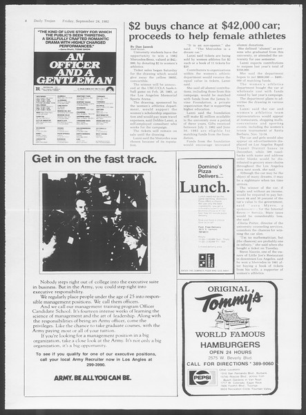 Daily Trojan, Vol. 92, No. 14, September 24, 1982