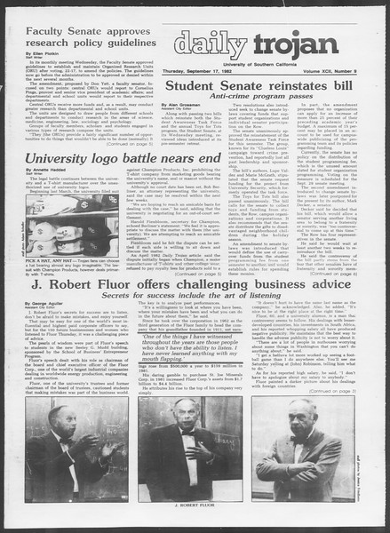 Daily Trojan, Vol. 92, No. 9, September 17, 1982