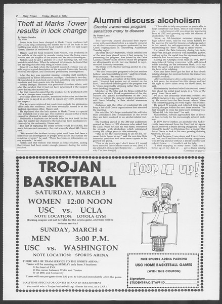 Daily Trojan, Vol. 95, No. 37, March 02, 1984