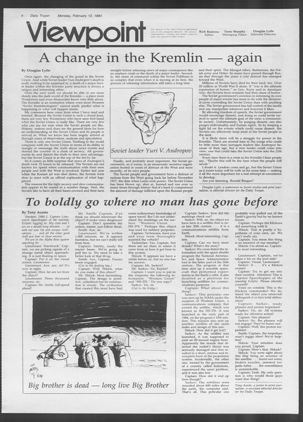 Daily Trojan, Vol. 95, No. 25, February 13, 1984
