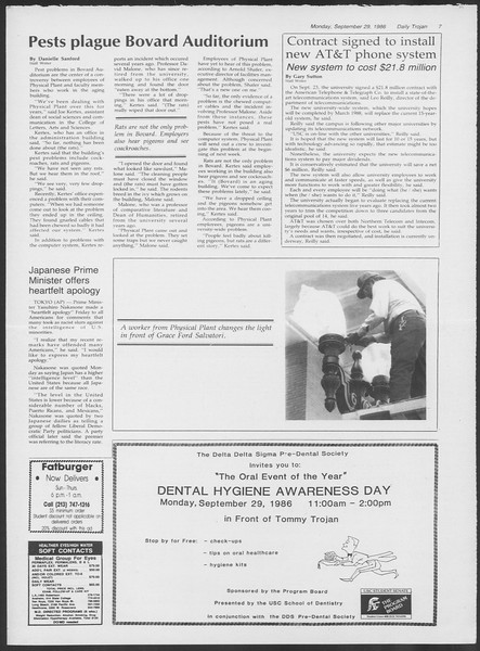 Daily Trojan, Vol. 102, No. 20, September 29, 1986