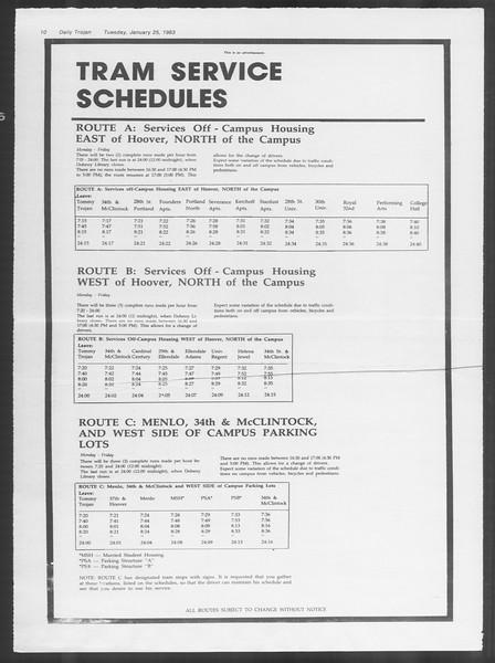 Daily Trojan, Vol. 93, No. 10, January 25, 1983