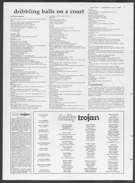 Daily Trojan, Vol. 95, No. 59, April 11, 1984