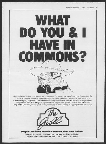 Daily Trojan, Vol. 102, No. 12, September 17, 1986