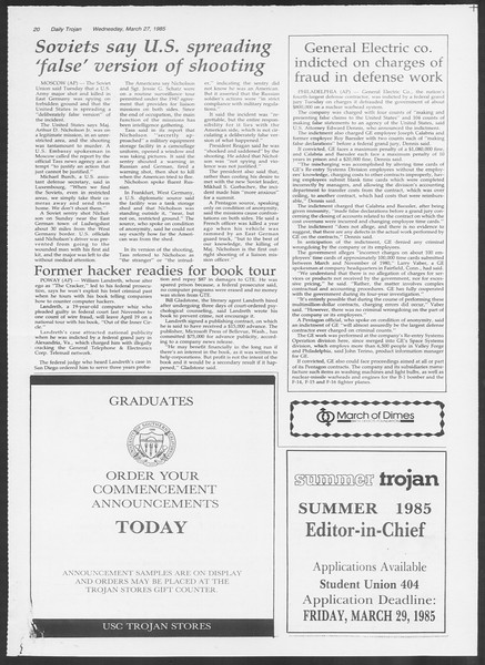 Daily Trojan, Vol. 98, No. 52, March 27, 1985