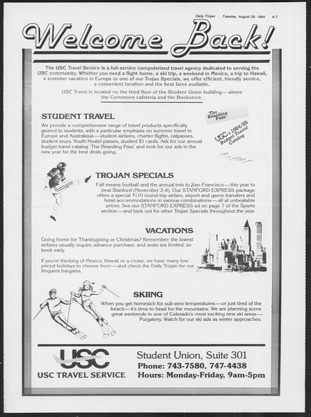 Daily Trojan, Vol. 97, No. 1, August 28, 1984