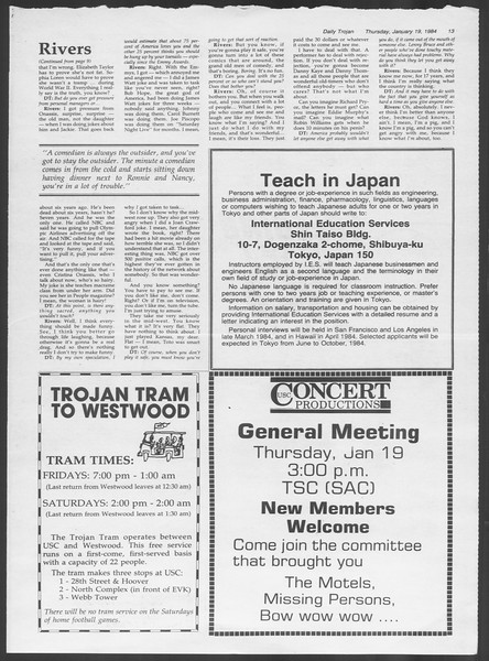 Daily Trojan, Vol. 95, No. 8, January 19, 1984
