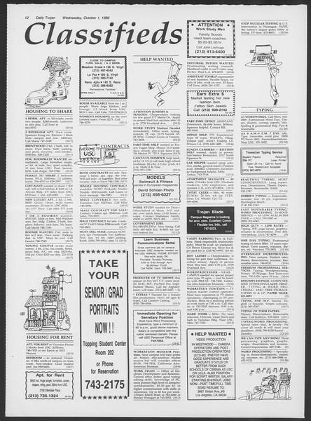 Daily Trojan, Vol. 102, No. 22, October 01, 1986