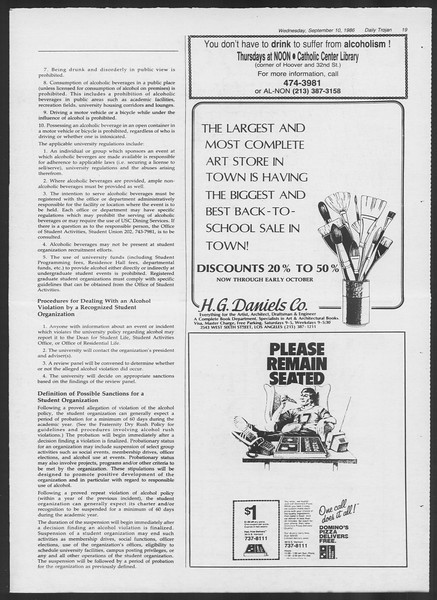 Daily Trojan, Vol. 102, No. 7, September 10, 1986