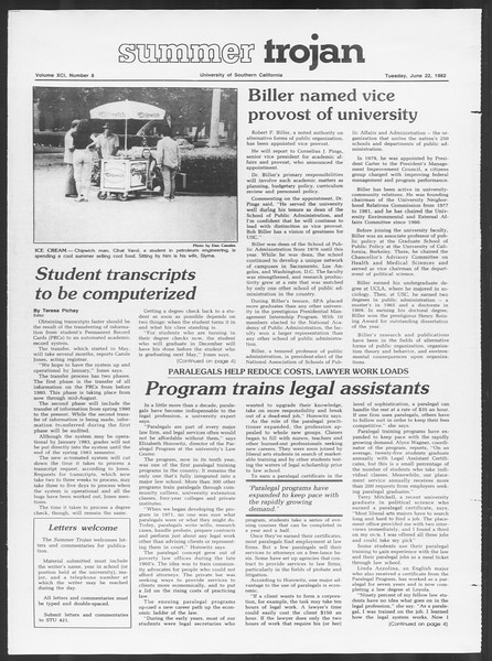Summer Trojan, Vol. 91, No. 8, June 22, 1982