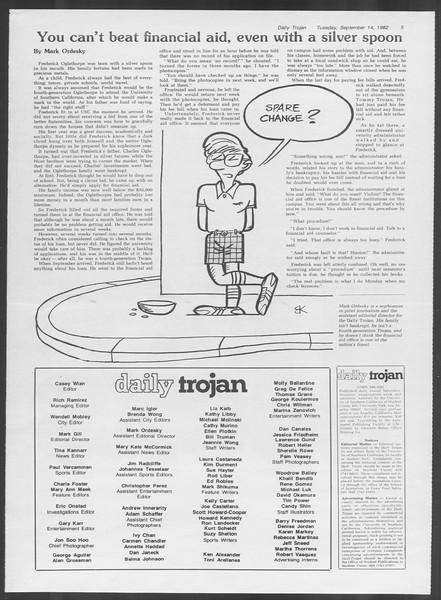 Daily Trojan, Vol. 92, No. 6, September 14, 1982