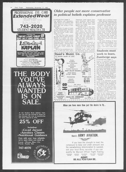 Daily Trojan, Vol. 92, No. 51, November 17, 1982
