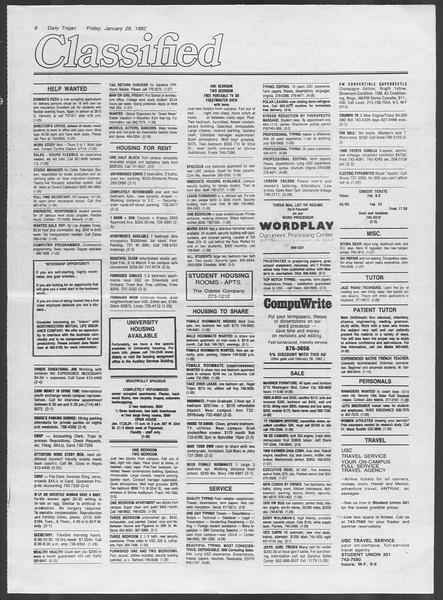 Daily Trojan, Vol. 91, No. 14, January 29, 1982