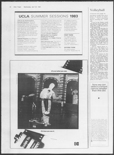 Daily Trojan, Vol. 93, No. 62, April 20, 1983