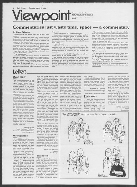 Daily Trojan, Vol. 91, No. 33, March 02, 1982