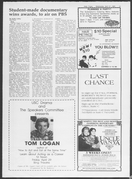Daily Trojan, Vol. 93, No. 67, April 27, 1983