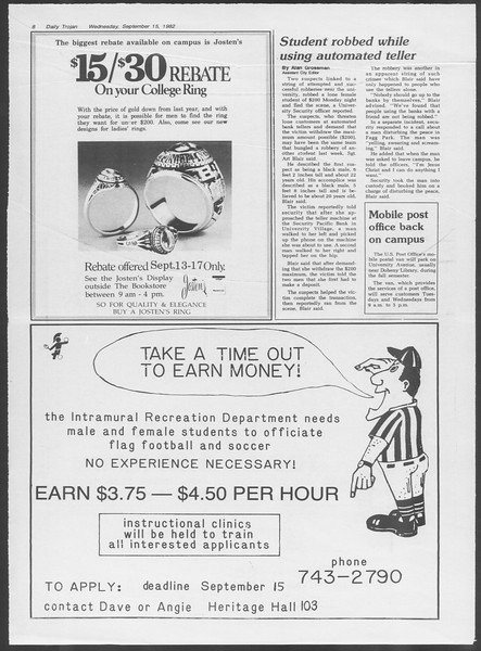 Daily Trojan, Vol. 92, No. 7, September 15, 1982